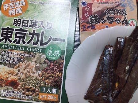 20091101 17明日葉カレー&ムロアジくさや.JPG